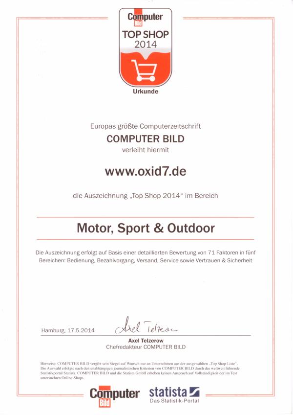Computerbild Topshop 2014 Urkunde